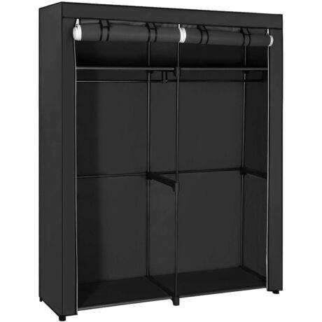 SONGMICS Szekrény, tároló, hordozható szekrény 2 akasztóval, ruhatár, összecsukható ruhatár, hálószoba, dolgozószoba, stabil, 140 x 43 x 174 cm, fekete RYG02BK