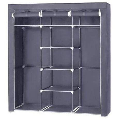 SONGMICS Vászon szekrény, Hálószobabútor, Ruha szekrény, Szürke 175 x 150 x 45 cm RYG12G