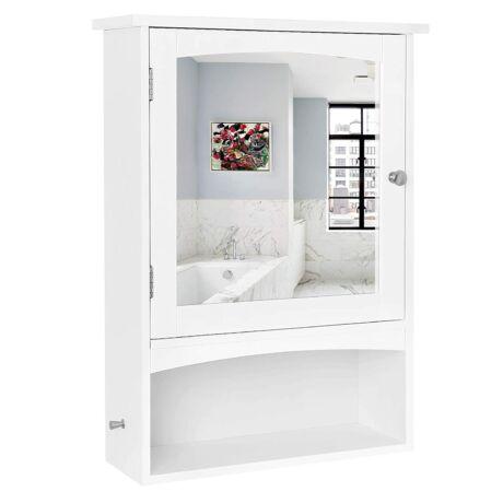 Tükörszekrény, fali tároló szekrény, nyitott rekesszel és állítható polccal