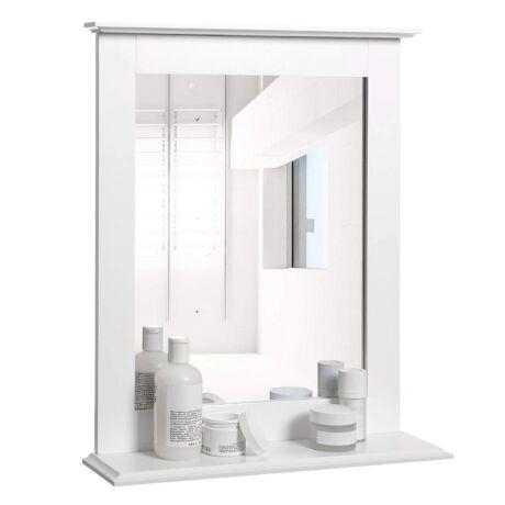 VASAGLE fürdőszoba tükör, 46 x 12 x 55 cm, matt fehér