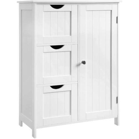 VASAGLE fürdőszobai tárolószekrény, padlószekrény 3 nagy fiókkal és 1 állítható polccal