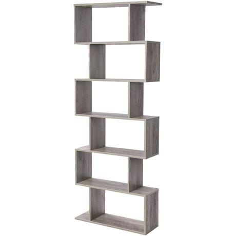 Könyvespolc, szabadon álló szekrény, dekoratív polc 6 szinttel 74 x 24 x 190,5 cm