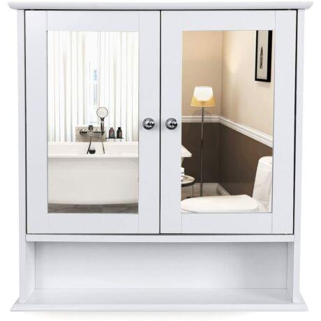 VASAGLE dupla tükörajtós fürdőszoba szekrény