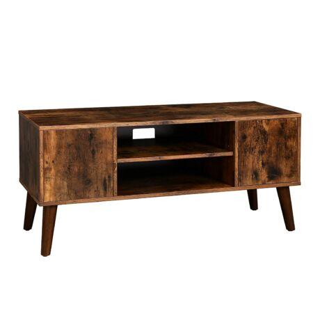 VASAGLE retro TV polc, TV asztal, TV szekrény 50/60-as megjelenéssel, retro bútorok a plazma TV-k számára, játékkonzolok, nappali, iroda, fa megjelenés LTV08BX