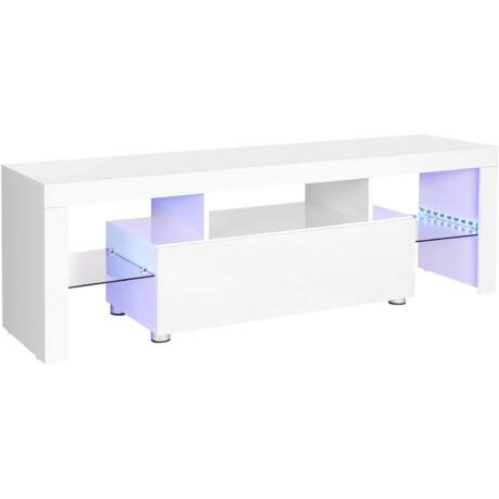 VASAGLE TV-szekrény legfeljebb 60 hüvelykes tévékhez, nagy TV-asztal, TV-állvány LED-es világítással, nappaliban, 140 x 35 x 45 cm, modern, fényes, fehér LTV14WT