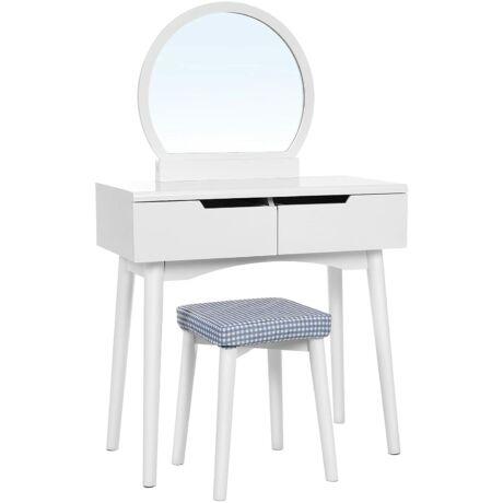 SONGMICS Fésülködő asztal készlet napraforgó kerek tükörrel 2 nagy csúszó fiókos pipereasztal párnázott szék fehér RDT11W