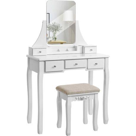 VASAGLE Fésülködő asztal keret nélküli tükörrel, kivehető rendszerezővel, gumi fa szék, 5 fiók, hálószobához, öltözőhöz, fehér RDT25WT