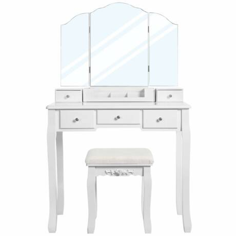 VASAGLE Fésülködő asztal 5 fiókkal, pipereasztal 1 székkel, keret nélküli háromhajtású tükör, 1 kivehető kozmetikai tárolódoboz, mosakodó szett, könnyen összeszerelhető, fehér RDT28WT