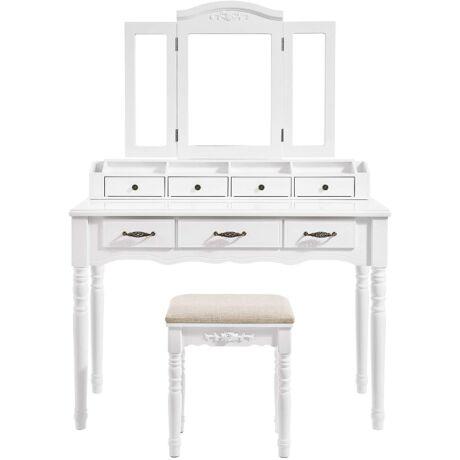 VASAGLE Fésüködő asztal 7 fiókkal, pipereasztal háromhajtású tükör horgokkal, 2 ecset és 4 nyitott rekesz, tömörfa lábak, párnázott szék, fehér RDT60WT