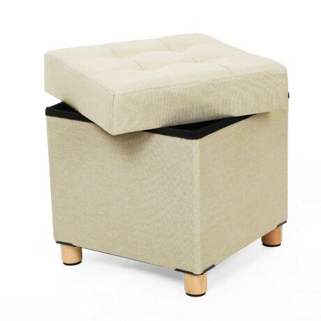 SONGMICS ülésláda, négyszögletes lábtartó doboz, 38 x 40 x 38 cm bézs