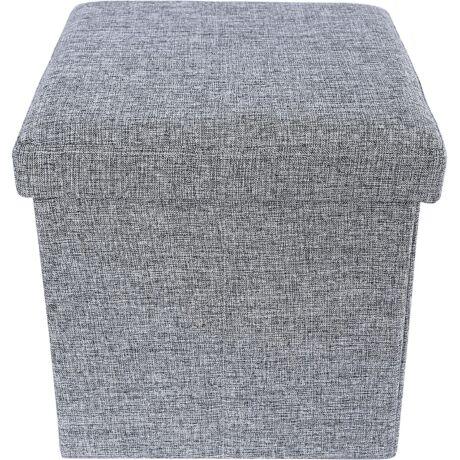 SONGMICS Ottomán pad, összecsukható tároló doboz, szürke 38 x 38 x 38 cm
