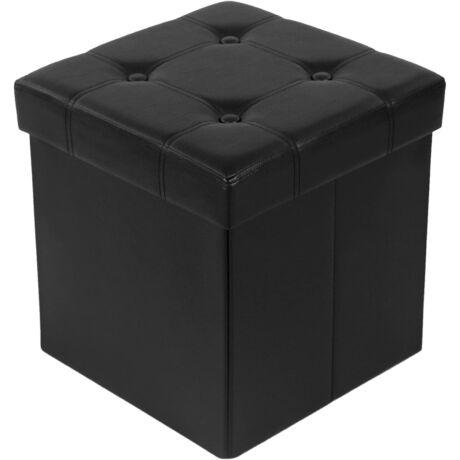 SONGMICS Pad 300 kg-os tárolókapacitással, műbőr, fekete, 38x38x38 cm