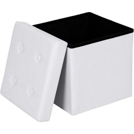 SONGMICS  összecsukható ülésláda, tároló doboz, 38 cm, teherbírás 300 kg-ig, fehér LSF30W