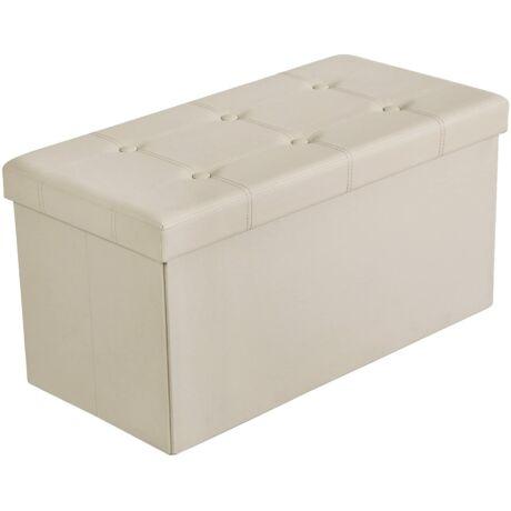 SONGMICS tároló pad, összecsukható, teherbírás akár 300 kg, műbőr, bézs színű, 76 x 38 x 38 cm