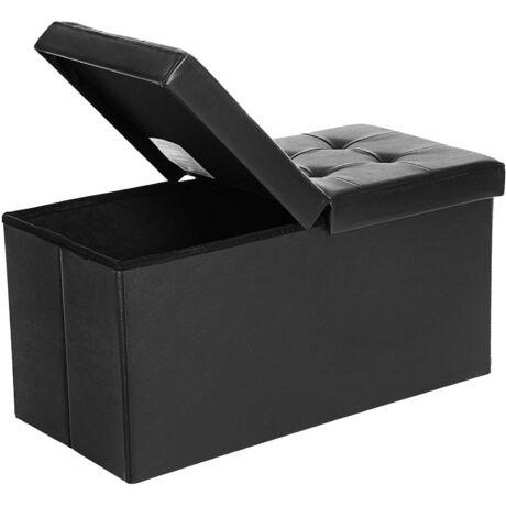 SONGMICS tároló pad, összecsukható pad, 80 L, ülés 300 kg-ig, 76 x 38 x 38 cm fekete