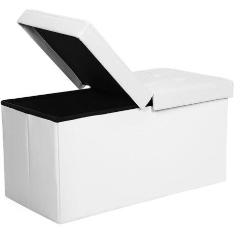SONGMICS 80L-es ülésláda, összecsukható ülés felület, 300 kg-ig terhelhető, 76 x 38 x 38 cm fehér LSF45WT