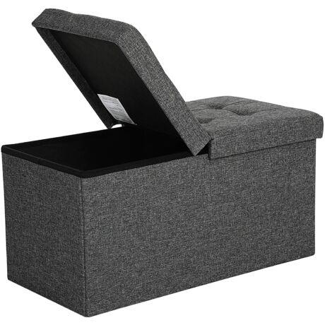 SONGMICS Összecsukható pad, 80L csomagtartó, fél fedél nyitás, teherbírás 300 kg-ig 76 x 38 x 38 cm sötétszürke LSF46GYZ