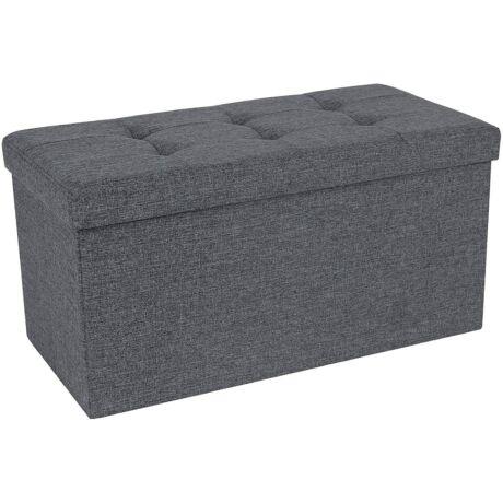 SONGMICS 80L-es tároló pad, rugalmas, 300 kg-ig terhelhető, 76 x 38 x 38 cm, sötétszürke