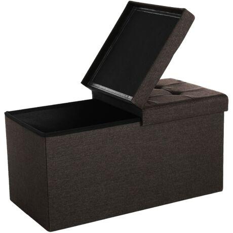 SONGMICS Nagy tároló pad, max. terhelhetőség 300 kg, 76 x 38 x 38 cm, sötétbarna