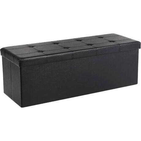 SONGMICS tároló pad, összecsukható, teherbírás akár 300 kg, műbőr, fekete 110x38x38 cm