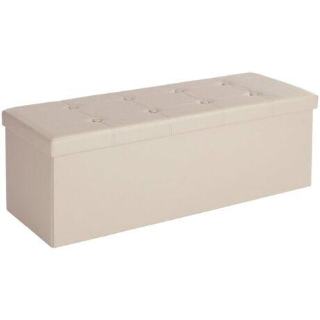 SONGMICS tároló pad, teherbírás 300 kg, műbőr, bézs 110 x 38 x 38 cm