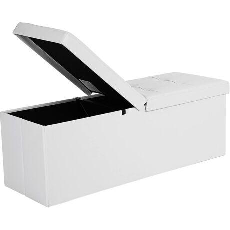 SONGMICS Összecsukható ülésláda, pad 120L tárolóval, 300 kg-ig terhelhető, műbőr