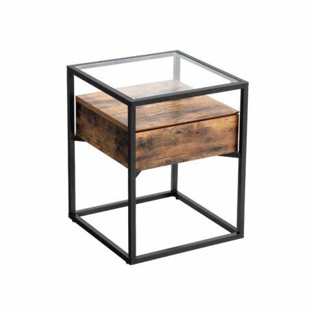 Edzett üveges Kisasztal, éjjeliszekrény 43x43x54 cm