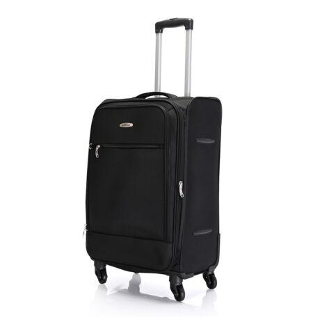"""Bontour """"Trip"""" Bővíthető Puha Bőrönd 67cm / 2 ÉV GARANCIA - 4 Kerekű, Fekete, M, Közepés 60-69cm, Puha Bőrönd"""