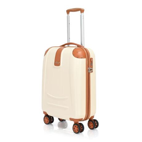 Bontour ELEGANCE Kabin Bőrönd 55cm Krémfehér