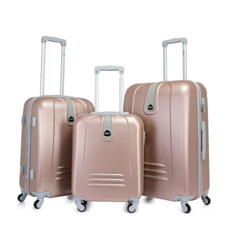 Bontour CLASSIC 4 Kerekű Bőrönd Szett Rózsaarany
