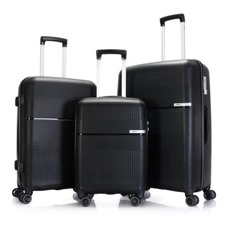 """Bontour """"Cruise"""" 3 db-os Bőrönd Szett Fekete Erős & Rugalmas Anyagból"""