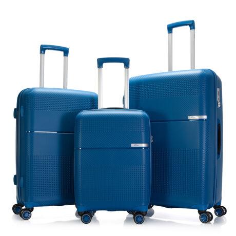 """Bontour """"Cruise"""" 3 db-os Bőrönd Szett Kék Törhetetlen Rugalmas Anyagból"""
