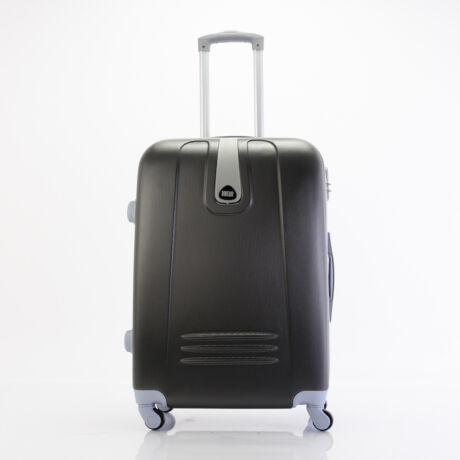 4 Kerekes Merev Falú közepes Bőrönd Fekete szín 66x45x25 cm