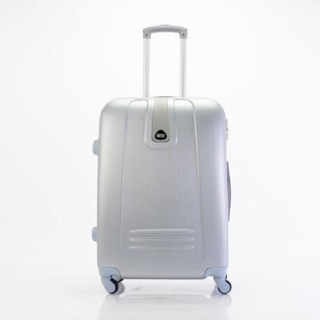 4 Kerekes Merev Falú közepes Bőrönd Ezüst szín 66x45x25 cm