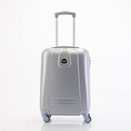 4 Kerekes Merev Falú Kabinbőrönd 55x38x20 cm Ezüst