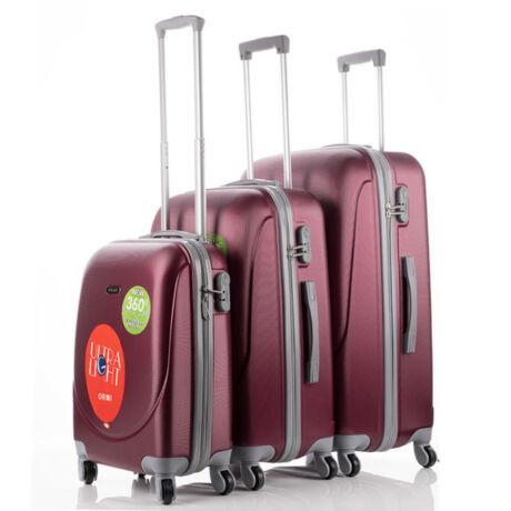 Ultra Light 3 db-os Bőrönd Szett Bordó