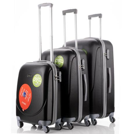 Ultra Light 3 db-os Bőrönd Szett Fekete