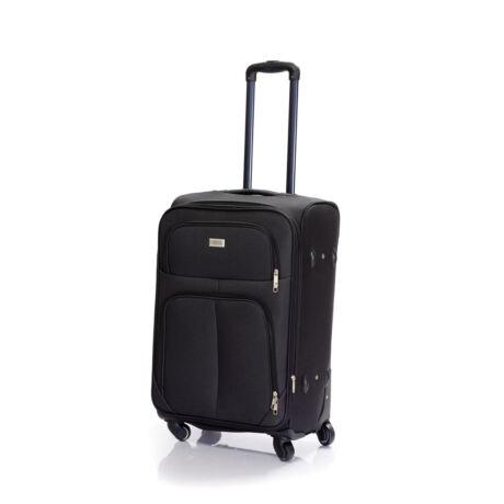 Bontour Basic Puha Bővíthető Bőrönd 66cm 214-M# Fekete