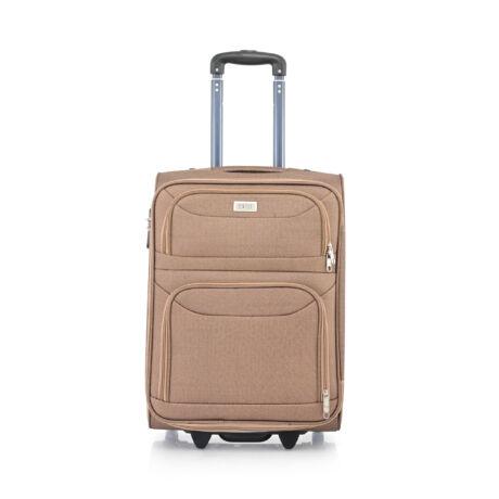 Ryanair/WizzAir Kabin Bőrönd (2 KERÉKÜ) 55x39x20cm Világos barna