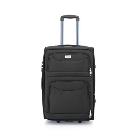 BONTOUR 2 kerekű Basic bőrönd Bővíthető 64x42x28/31cm Fekete