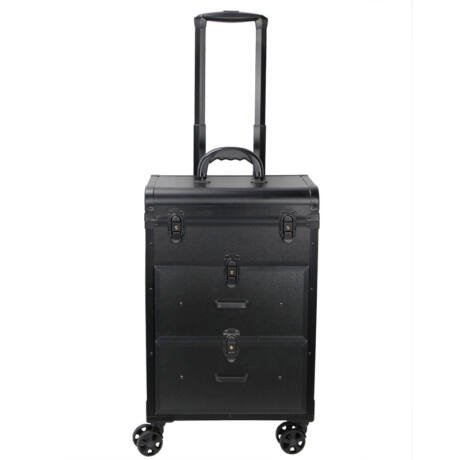 Gurulós smink bőrönd, 50x35x23,5cm, Fekete Színben