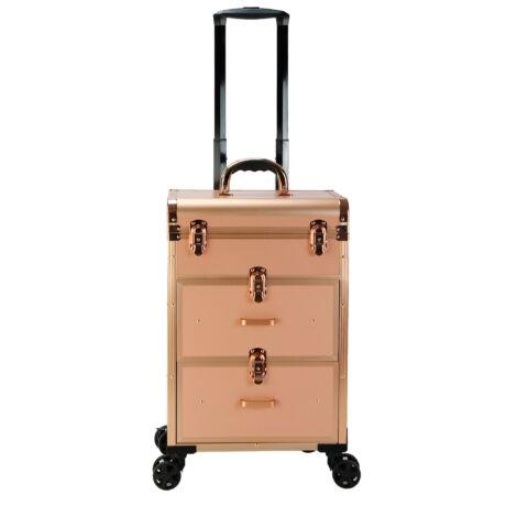Gurulós smink bőrönd, 50x35x23,5cm, Rosegold Színben