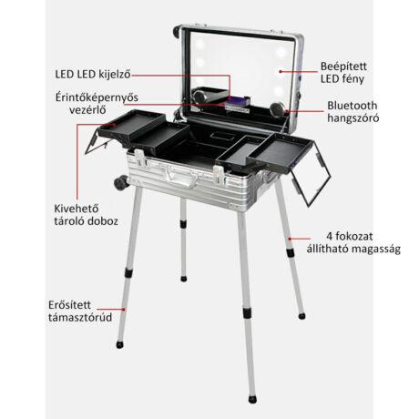 Professzionális alumínium smink bőrönd integrált LED-es lámpával és Bluetooth hangszóróval