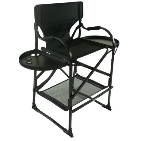 Összecsukható smink szék pohártartó és tálcával, Fekete