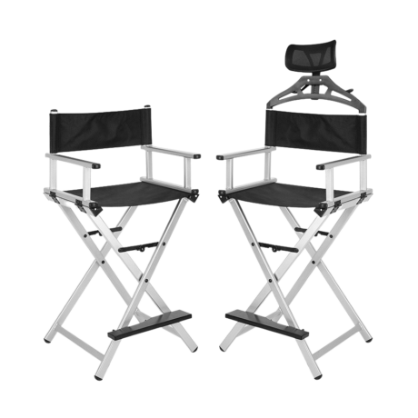 Összecsukható smink szék fejtámlával ezüst színben
