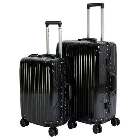 2 db-os Bőrönd Szett (S+M) Fekete TSA zárral